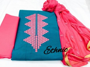 Ethnic-Emb Handloom top dress material (5 pc set)