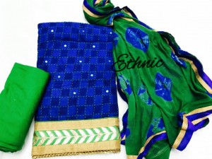 Ethnic-Katha work cotton top dress material (4 pc Set)