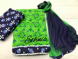 Ethnic-Embroidered Jaipuri cotton top  (4 pc Set)